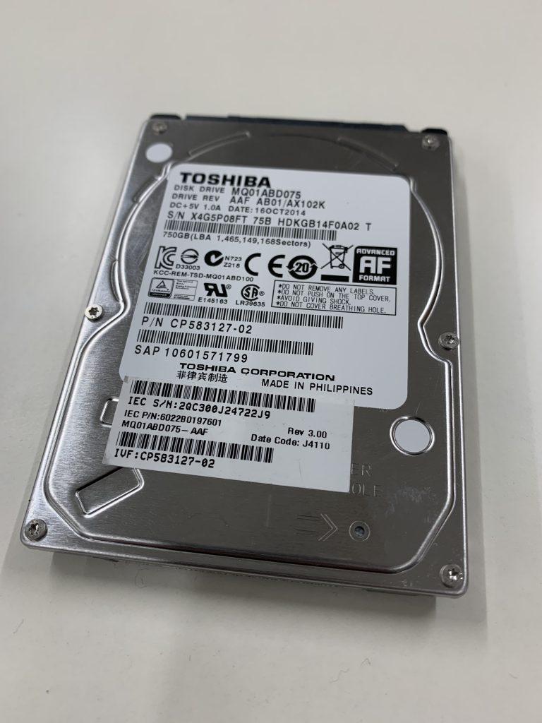 データ復旧 TOSHIBA MQ01ABD075